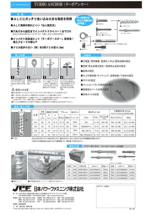 JPF ターボアンカーK「ALC用ねじ固定式アンカー」